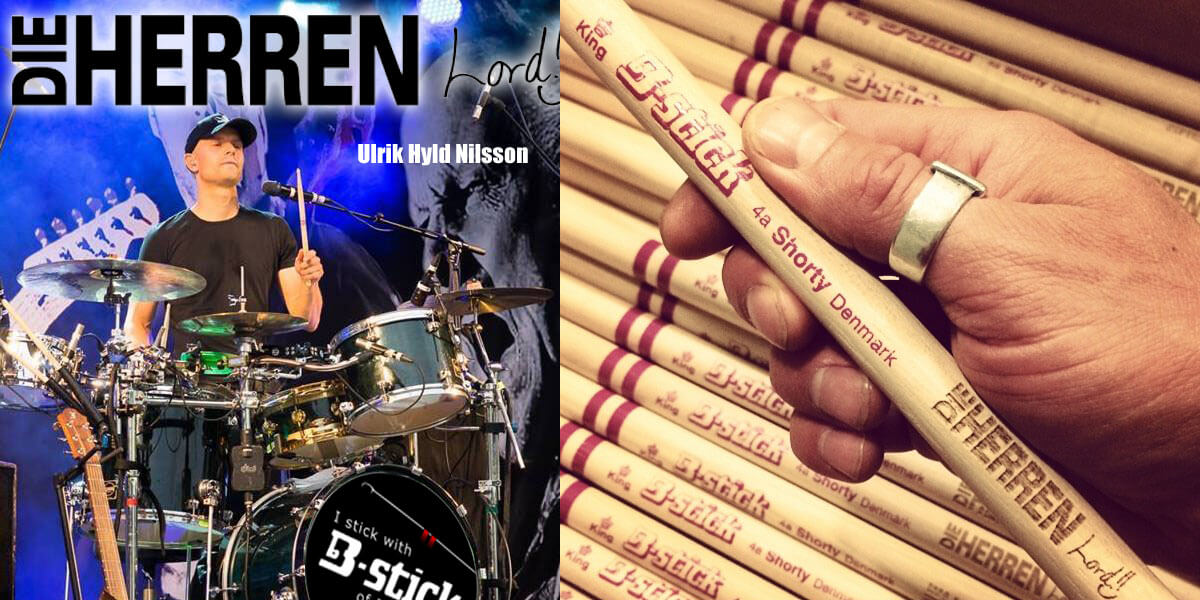 Lord uses B-stick drumsticks and is an endorser for us